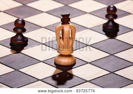 Chess King With Two Pawns