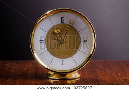 Old Golden Table Clock