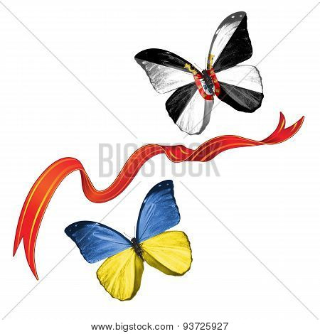 Two butterflies with symbols of Ukraine and Ceuta