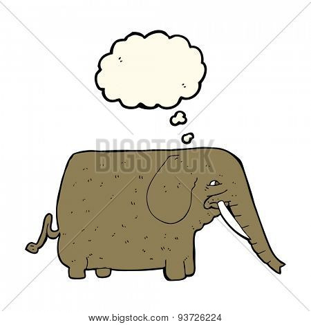 cartoon mammoth with thought bubble