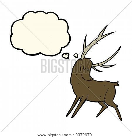 cartoon stag with thought bubble