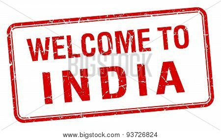 Welcome To India Red Grunge Square Stamp