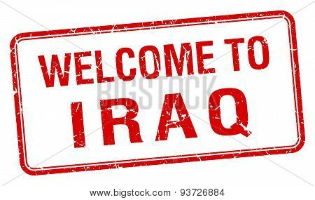 Welcome To Iraq Red Grunge Square Stamp