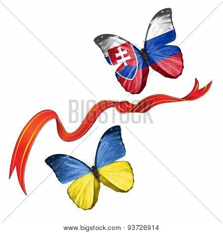 Two butterflies with symbols of Ukraine and Slovakia