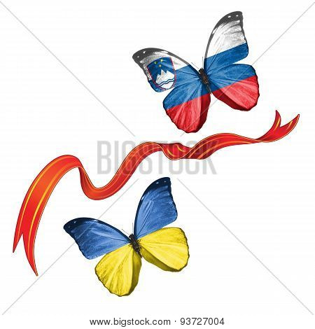 Two butterflies with symbols of Ukraine and Slovenia