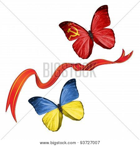 Two butterflies with symbols of Ukraine and USSR