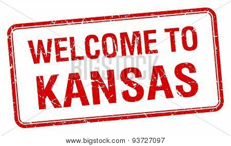 Welcome To Kansas Red Grunge Square Stamp