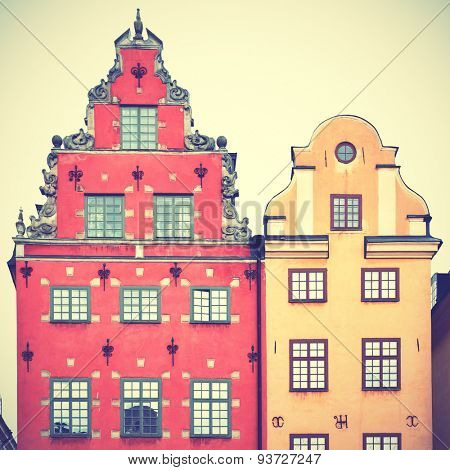 Houses on Stortorget square in Stockholm. Retro style filtred image