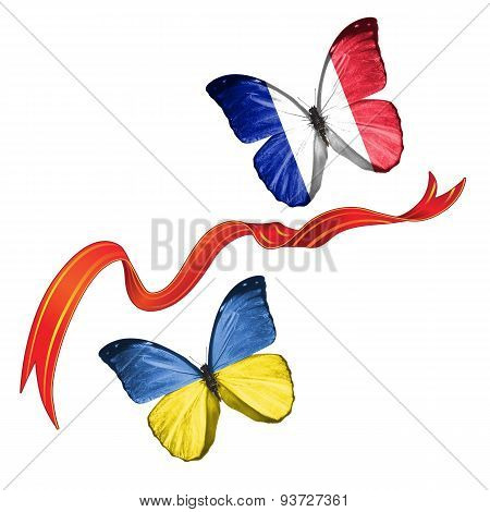 Two butterflies with symbols of Ukraine and France