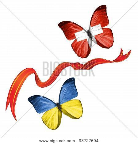 Two butterflies with symbols of Ukraine and Switzerland