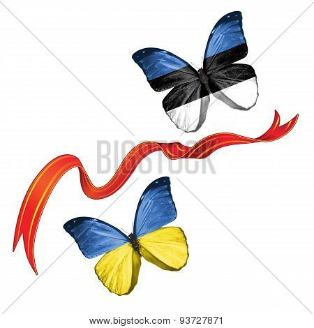 Two butterflies with symbols of Ukraine and Estonia