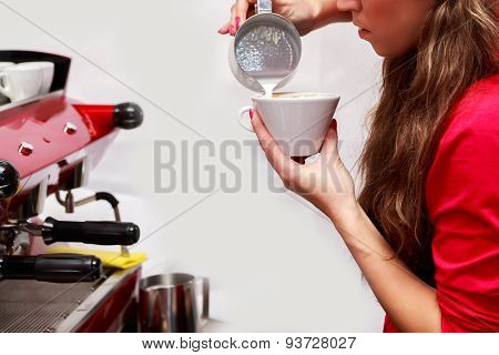 Female bartender in the workplace