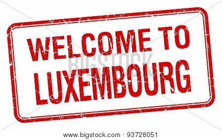 Welcome To Luxembourg Red Grunge Square Stamp