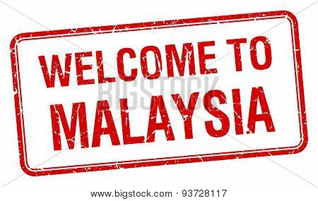 Welcome To Malaysia Red Grunge Square Stamp