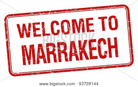 Welcome To Marrakech Red Grunge Square Stamp