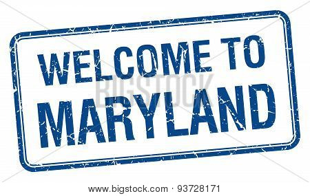 Welcome To Maryland Blue Grunge Square Stamp