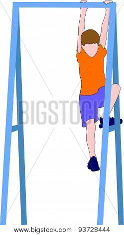 Boy Climbing A Jungle Gym