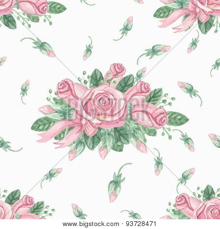 Watercolor pink roses group seamless pattern.Buds