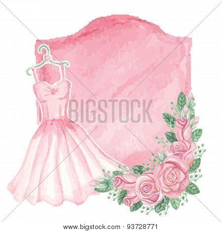 Watercolor pink dress, roses decor,badge.Vintage card
