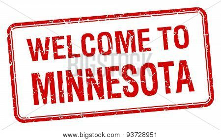 Welcome To Minnesota Red Grunge Square Stamp
