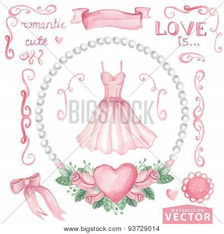 Watercolor bridal shower set.Pink dress,roses,decor