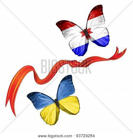 Two butterflies with symbols of Ukraine and Mordovia (Russia)