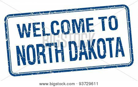 Welcome To North Dakota Blue Grunge Square Stamp