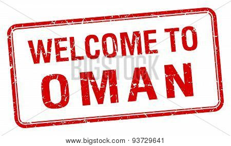 Welcome To Oman Red Grunge Square Stamp