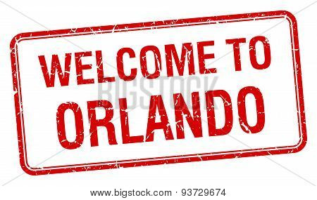 Welcome To Orlando Red Grunge Square Stamp