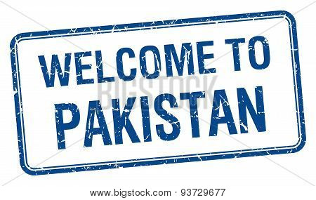 Welcome To Pakistan Blue Grunge Square Stamp
