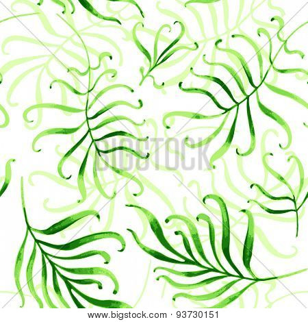 Seamless tropical ornament. Watercolor vector illustration.