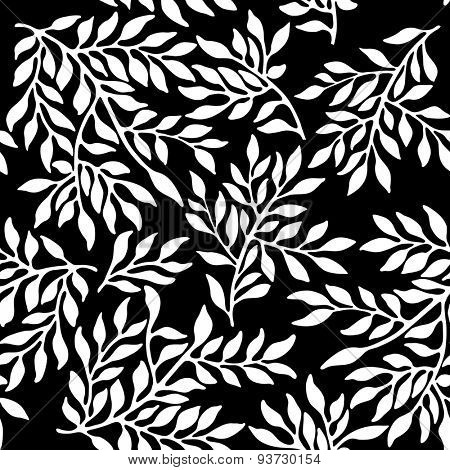 Seamless foliate ornament. Black and white pattern