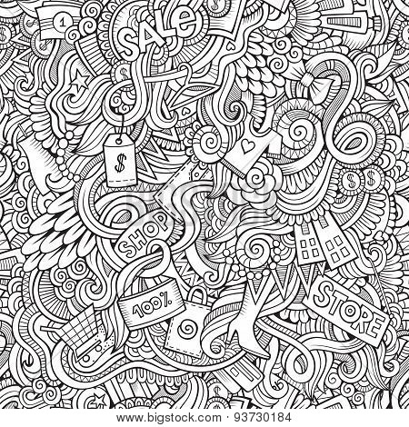 hand drawn sale shopping seamless pattern