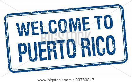 Welcome To Puerto Rico Blue Grunge Square Stamp