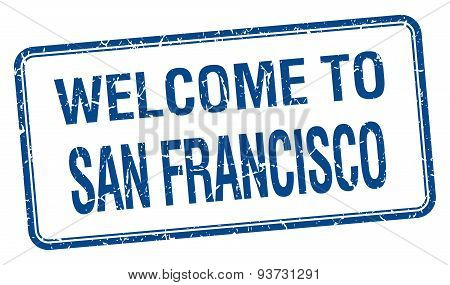 Welcome To San Francisco Blue Grunge Square Stamp