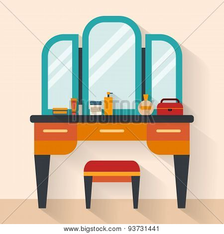 Woman boudoir with table