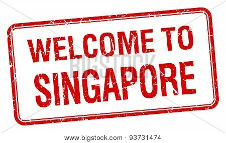 Welcome To Singapore Red Grunge Square Stamp