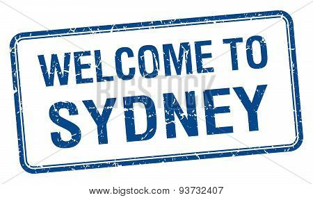 Welcome To Sydney Blue Grunge Square Stamp