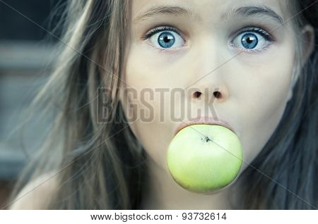 Little Girl With Green Apple