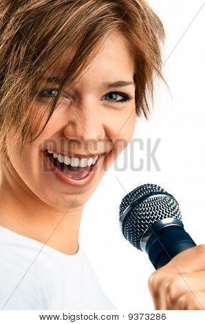 Girl Singing On White Background