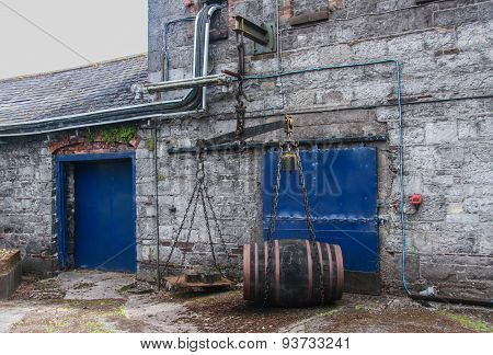 Cork, Ireland - June 20, 2008:  Old Fashioned Balance Beam Scale Weighting Barrel Cask At The Jameso