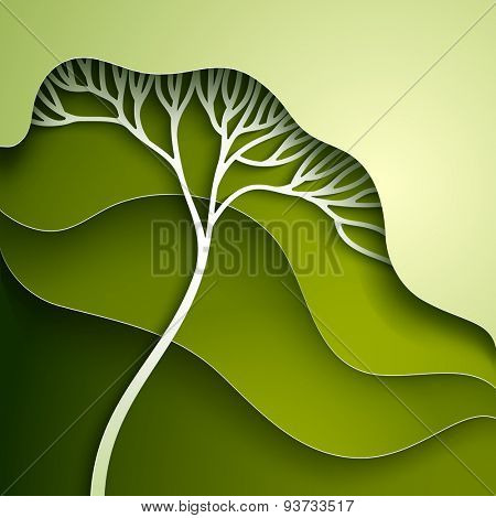 Vector illustration with stylized summer tree in gradation of green