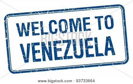 Welcome To Venezuela Blue Grunge Square Stamp