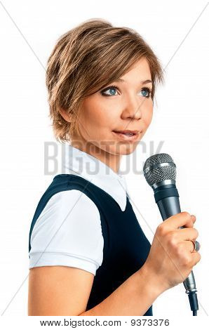 Tv Correspondent On White Background