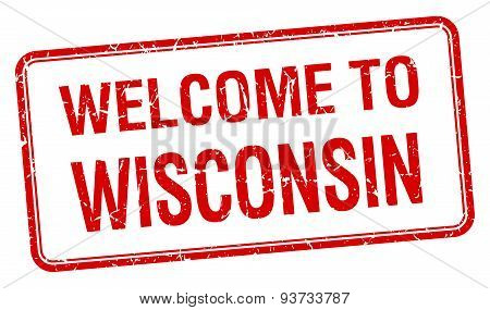 Welcome To Wisconsin Red Grunge Square Stamp
