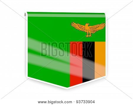 Flag Label Of Zambia