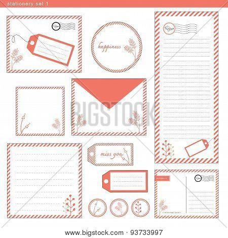 Stationery Set 1 Coral Color Stripe