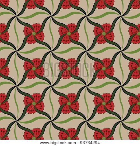 Symmetrical red flower buds pattern.