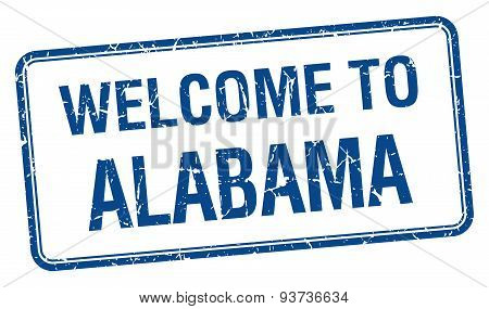 Welcome To Alabama Blue Grunge Square Stamp
