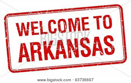 Welcome To Arkansas Red Grunge Square Stamp